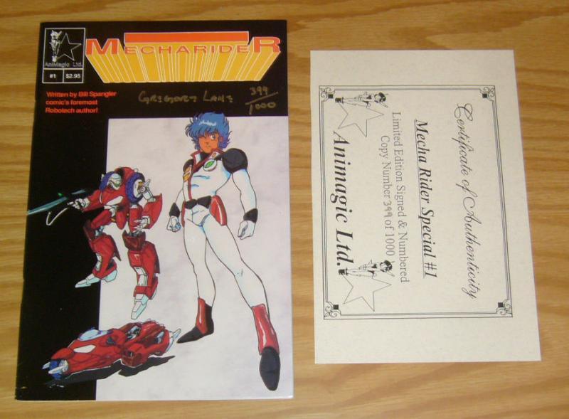 MechaRider #1 VF/NM animagic bill spangler - signed & numbered #399/1000 w/COA