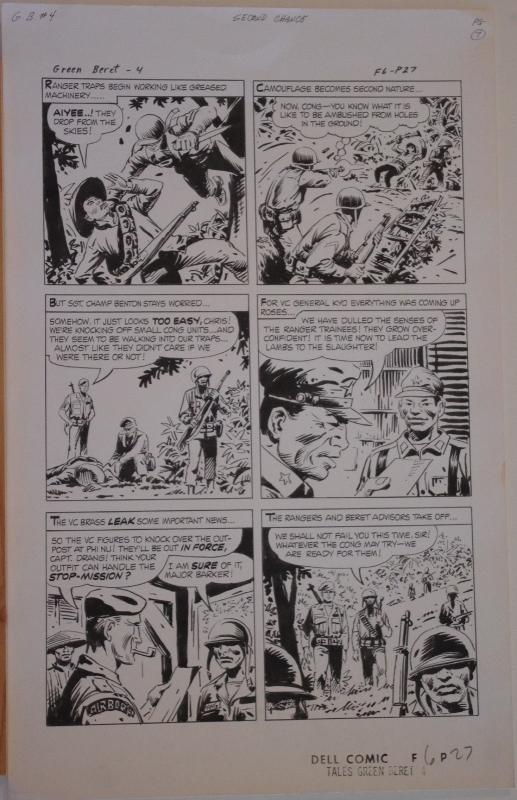 SAM GLANZMAN original art, TALES of the GREEN BERET #4 pg 27, 14x22, War, 1967