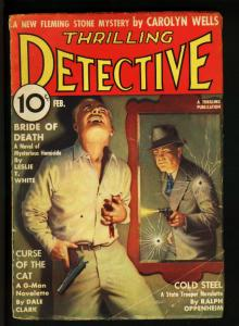 THRILLING DETECTIVE 1937 FEB-MAN IN MIRROR SHOOTS G-MAN VG