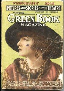 GREEN BOOK-FEB 1914-STORIES OF THE THEATRE-HUCK FINN-PULP FICTION-ART-PHOTOS