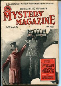 MYSTERY MAGAZINE 10/1/1924-SKELETON-GHOST-CRIME PULP-vg