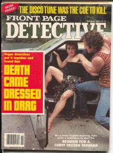 Front Page Detective 2/1982-bizarre cover-Death Dressed In Drag-VG