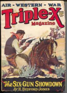 Triple-X 8/1928-Fawcett-FR Glass gunfight cover-H Bedford-Jones-VG-