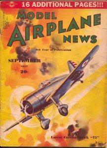 Model Airplane News 9/1937-Curtiss Hawk 75 plane cover-Josef Kotula-VG
