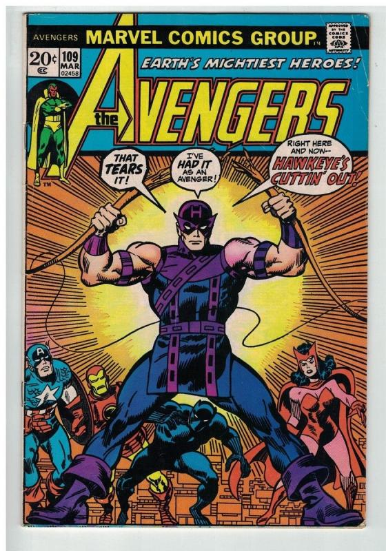 AVENGERS 109 VG+ March 1973