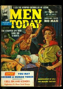 Men Today Pulp Magazine June 1962- Nazi torture whipping cover- G+