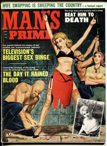 Man's Prime 9/1963-Brutal Nazi torure/whipping cover-Wife swap-TV-more!