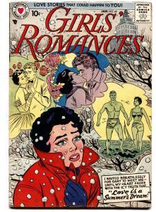 GIRLS' ROMANCES #49 comic book 1958-DC COMICS-SWIMSUIT & SNOWBALL