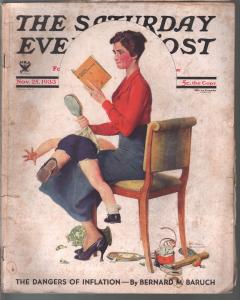 Saturday Evening Post  11/25/1933-Norman Rockwell cover-complete magazine-VG