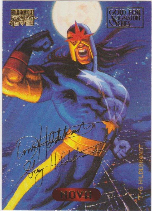 1994 Marvel Masterpieces Gold Foil Signature Series #86 Nova/Hiderbrant