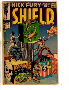 Nick Fury Agent Of Shield # 1 VG Marvel Comic Book Avengers Steranko Cover RH1