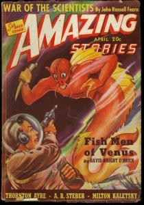 AMAZING STORIES 1940 APR-FISH MEN OF VENUS VG