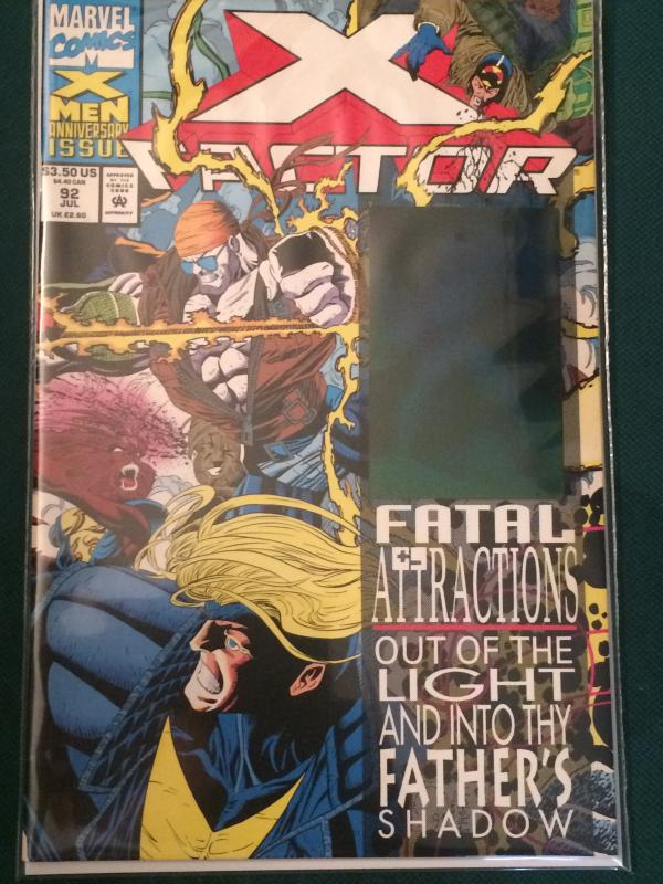 X-Factor #92 Fatal Attractions crossover Holographic sticker on cover