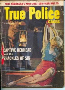 True Police Stories 4/1954-spicy cover-Walter Gibson-swamp killer-G/VG