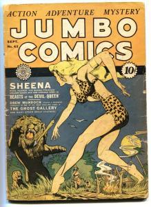 Jumbo Comics #43 1942- Sheena Lion cover- Fiction House G+ restored