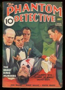PHANTOM DETECTIVE JULY 1937-BEAST KING MURDERS BRUTAL FN