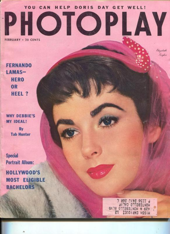 Photoplay-Liz Taylor-Fernando Lamas-Jane Wyman-Jane Wyman-Mike Wilding-Feb-1954