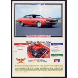 1992 Collect-A-Card Musclecars 1972 DODGE CHALLENGER RALLYE #65