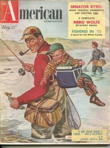 American Magazine 5/1955-fishing cover-Nero Wolfe-Rex Stout pulp fiction-clas...