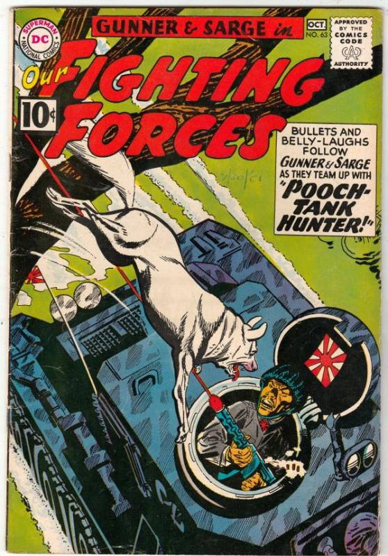 Our Fighting Forces #63 (Oct-61) FN/VF High-Grade Gunner and Sarge, Pooch