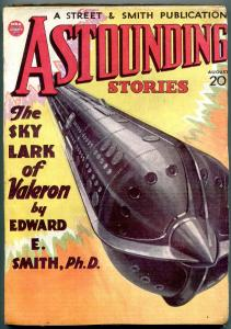 Astounding Stories Pulp August 1934- Edward Smith- Great Rocket cover VG