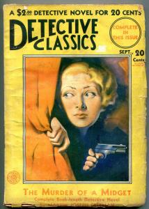 Detective Classics Pulp September 1931- Murder of a midget- Bergey cover