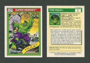 1990 Marvel Comics Card  #3 (Hulk) / MINT