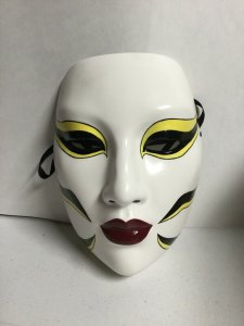 Kabuki Tigerlily Mask Hand Painted Ceramic Mask Moore Creations
