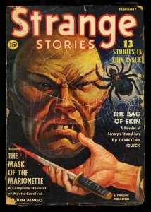 STRANGE STORIES 1940 FEB-ASIAN MENACE-SPIDER-COVER G/VG