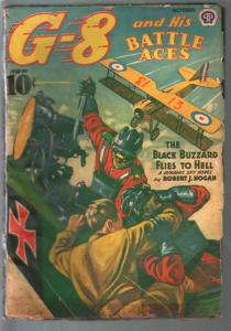 G-8 and His Battle Aces 10/1939-Hero pulp-Black Buzzard-J F Gould--VG