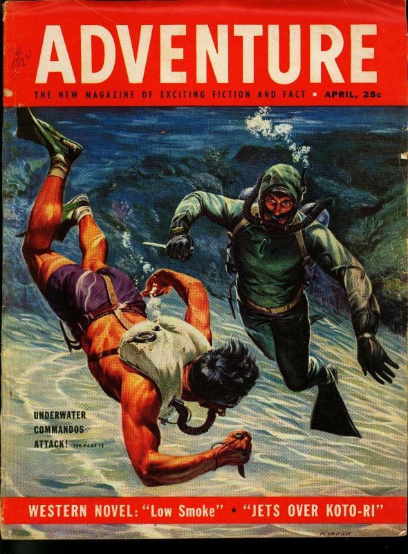 Adventure Pulp Magazine April 1953- John D MacDonald- Frogman -VG