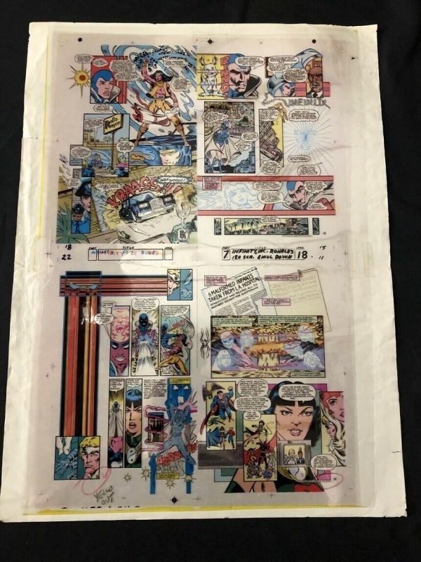 Infinity Inc #18 Original Production Art -four pages- color separation