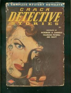 CRACK DETECTIVE STORIES PULP-AUG 1947-SKULL GGA COVER VG