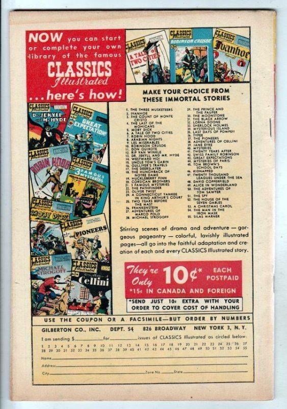 Classics Illustrated #54 (Dec-48) FN/VF+ Mid-High-Grade