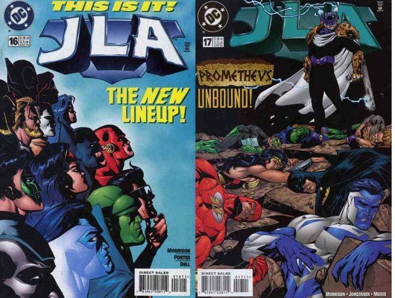JLA (1997) 16-17  G. Morrison  JLA vs PROMETHEUS !