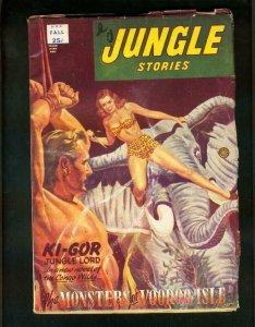 JUNGLE STORIES FALL 1952-SPICY ELEPHANT COVER-KI GOR-voodoo isle-FINE FN