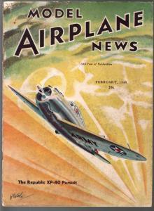 Model Airplane News 2/1940- Republic XP-40 Pursuit-WWII era-pix-diagrams-VG