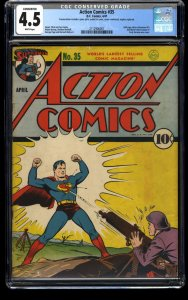Action Comics #35 CGC VG+ 4.5 White Pages WWII German War Cover! DC Superman