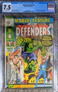 MARVEL FEATURE #1.- Ft. THE DEFENDERS! CGC  - 7.5!