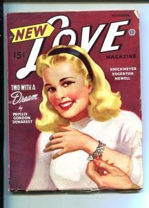 NEW LOVE-NOV 1945-ROMANTIC PULP FICTION-PIN-UP GIRL COVER-CHARM BRACELET-good