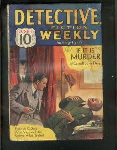 DETECTIVE FICTION WEEKLY PULP-6/3/33-CARROLL JOHN DALY  FR/G