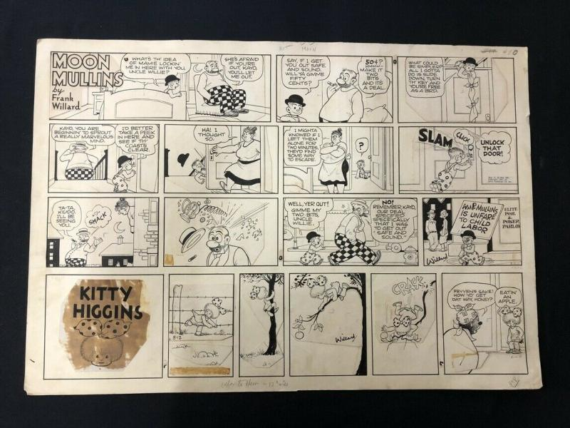 Moon Mullins Original Comic Strip Art August 12 1951- Frank Willard