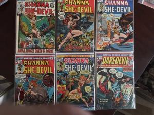 SHANNA THE SHE-DEVIL - #1 & 2 (SIGNED STERANKO), 3-5, DAREDEVIL #111 VF HI GRADE