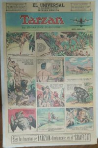 Tarzan Sunday Page #591 Burne Hogarth from 7/5/1942 in Spanish ! Full Page Size