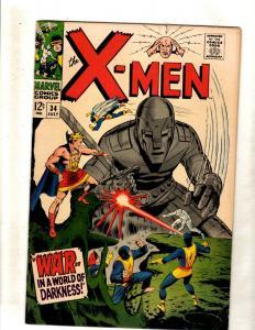 (Uncanny) X-Men # 34 VF- Marvel Comic Book Angel Beast Cyclops Jean Grey JF15