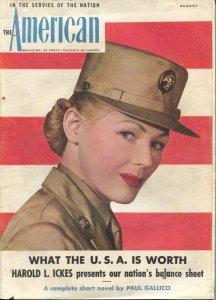 American Magazine 8/1943 WWII era-Juli Berngardt-Paul Gallico pulp fiction-cl...