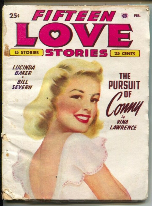 Fifteen Love Stories #1 2/1949-female pulp authors-pin-up girl cover art-1st iss