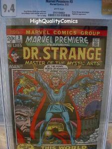 MARVEL PREMIERE 3, NM, CGC= 9.4, WP, Dr Strange, Barry Smith, Doctor, 1972