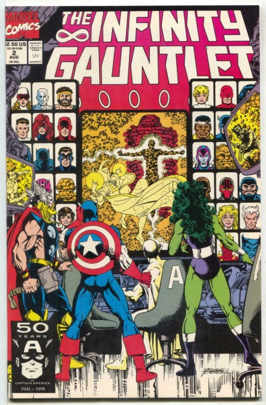 Infinity Gauntlet #2 1991 -Thanos  Warlock- comic book- Starlin VF/NM