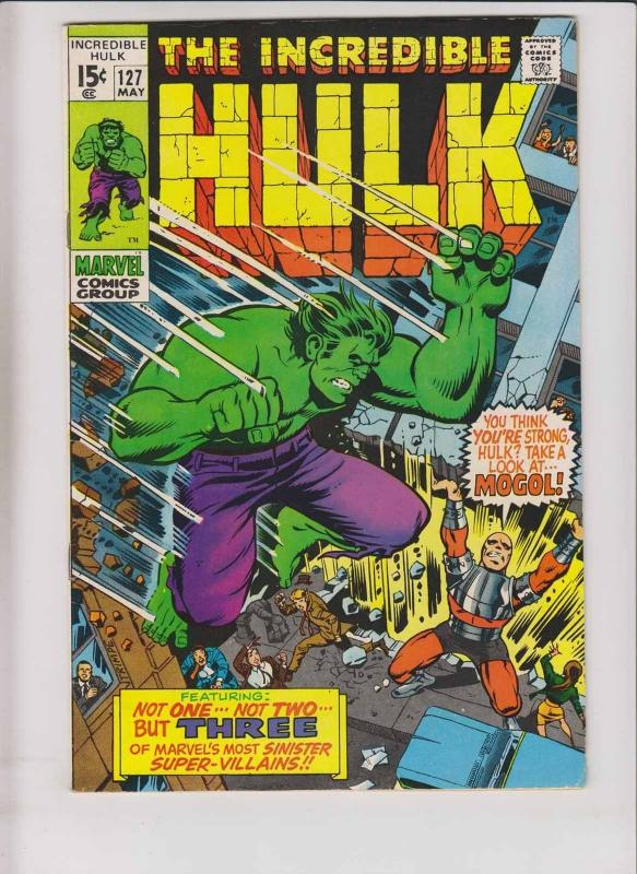 Incredible Hulk #127 FN/VF vs mogol - mole man - tyrannus - roy thomas - trimpe